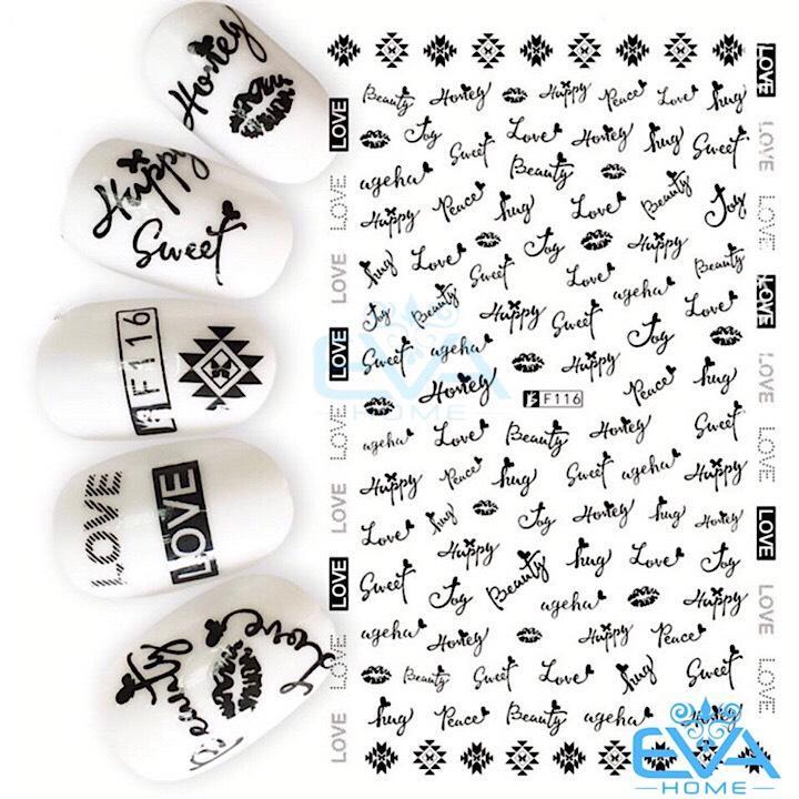 Miếng Dán Móng Tay 3D Nail Sticker Tráng Trí Hoa Văn Hoạ Tiết Chữ Viết Alphabet F116 tốt nhất