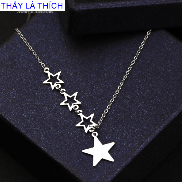 Giá bán Dây chuyền trẻ em inox 3 ngôi sao nhỏ phối 1 ngôi sao lớn đáng yêu - Cam kết 1 đổi 1 nếu hoen , gỉ sét
