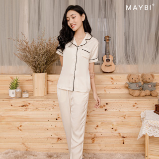 MAYBI - Bộ pyjama dài màu be thumbnail
