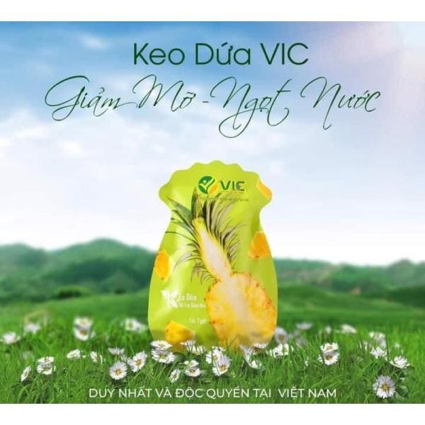 Kẹo dứa giảm cân VIC Organic - Giảm cân dứa - Mẫu mới 2021 - Gói 7 viên Chính hãng cao cấp
