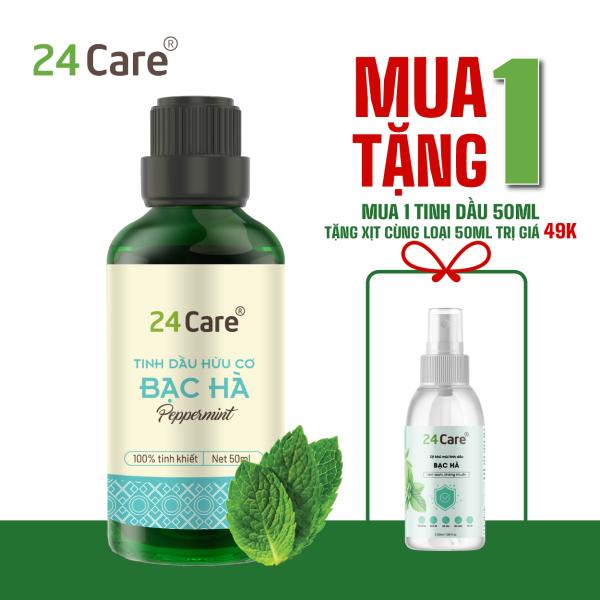 Tinh dầu Bạc Hà 24Care - Dung tích 10ml/50ml/100ml - Khử trùng, khử mùi, thơm phòng, thư giãn, sảng khoái