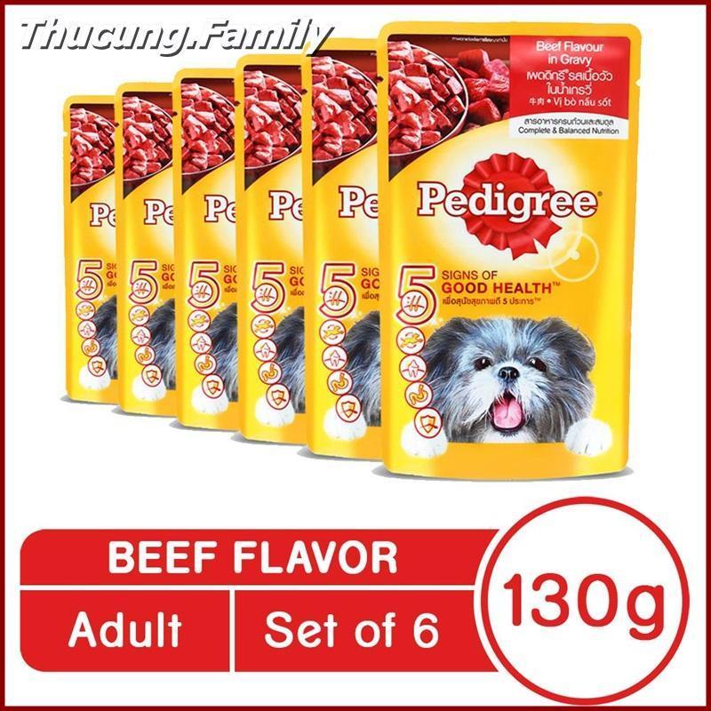 Combo 6 gói Sốt Bò Pedigree Cho Chó, giúp mượt lông- ít rụng lông. 130g/ gói.