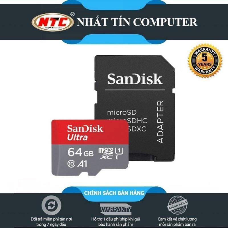 Thẻ nhớ MicroSDXC SanDisk Ultra A1 64GB Class 10 U1 100MB/s kèm adapter - new Version (Xám)