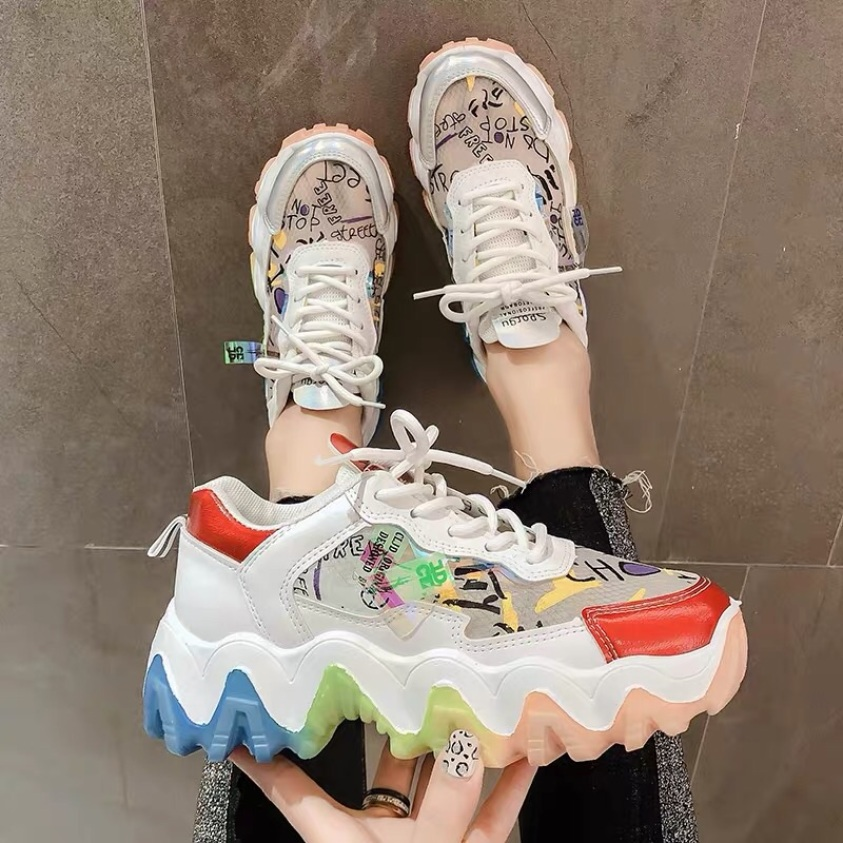 [ Hàng Sẵn ] Giày sneaker nữ độn đế phối màu đế sóng giá rẻ
