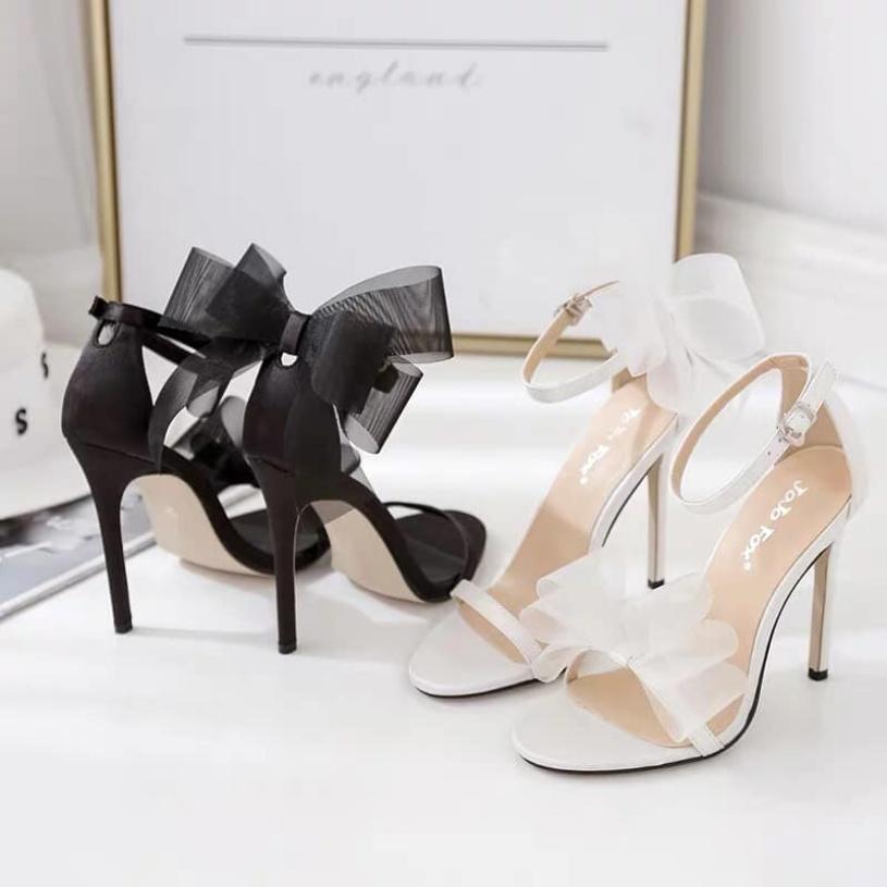 Sandal nữ/sandal cao gót nữ thắt nơ fom chuẩn giá rẻ