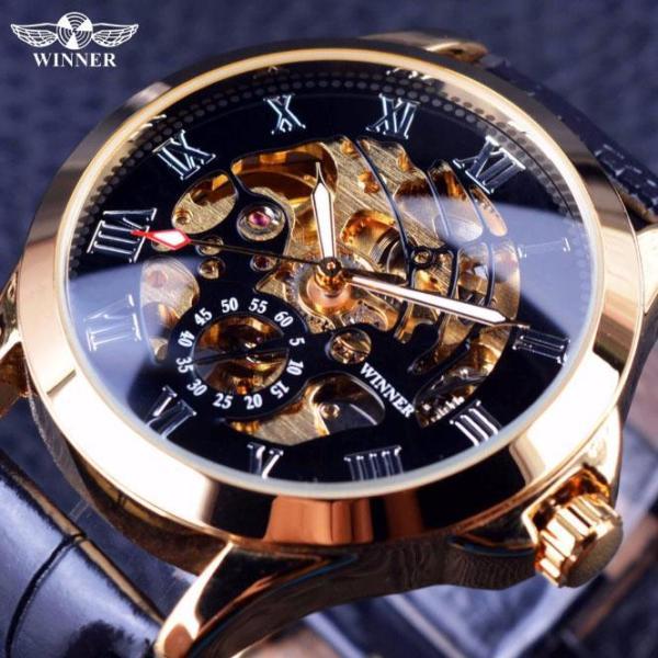 Đồng hồ nam Winner H123M máy cơ lộ máy dây da