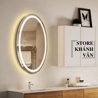 Gương đèn Led hình Ovan - Gương treo tường nhà tắm hình oval 50 70cm - Gương treo tường phòng ngủ cao cấp 50 70cm - Gương treo tường cao cấp 50 70cm - Gương cảm ứng có đèn cao cấp 50 70cm - Thiết bị vệ sinh Khánh Vân thumbnail