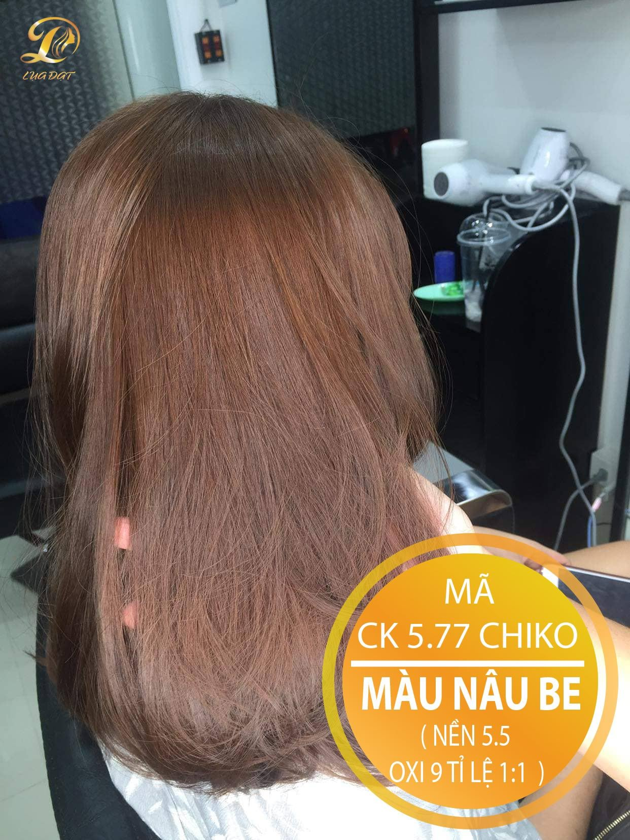 Thuốc nhuộm tóc Chiko màu nâu be (CK 5.77) KHÔNG TẨY + TẶNG kèm trợ nhuộm 100ml cao cấp