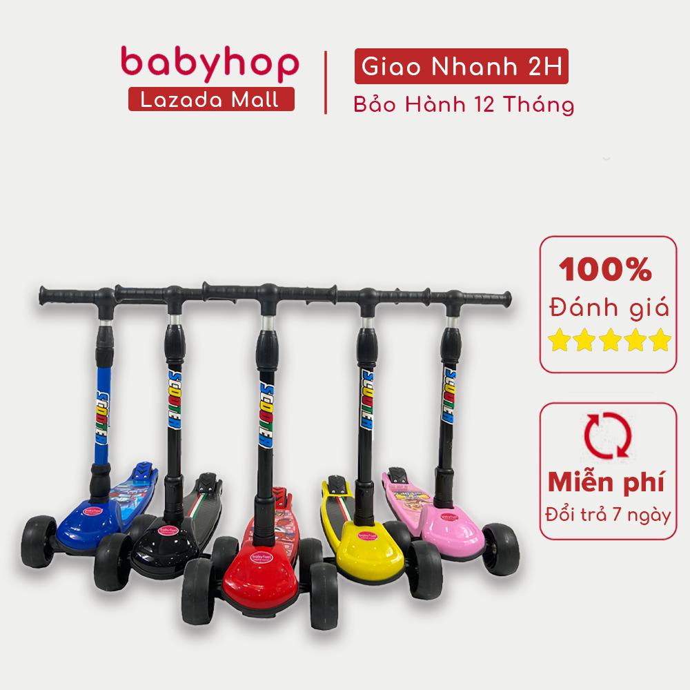Xe trượt scooter Babyfast 3 bánh an toàn cho trẻ em của Babyhop chịu lực 100kg phù hợp cho cả bé trai và gái, bánh xe phát sáng vĩnh cửu, rèn luyện vận động, tăng chiều cao cho bé - Hàng chính hãng