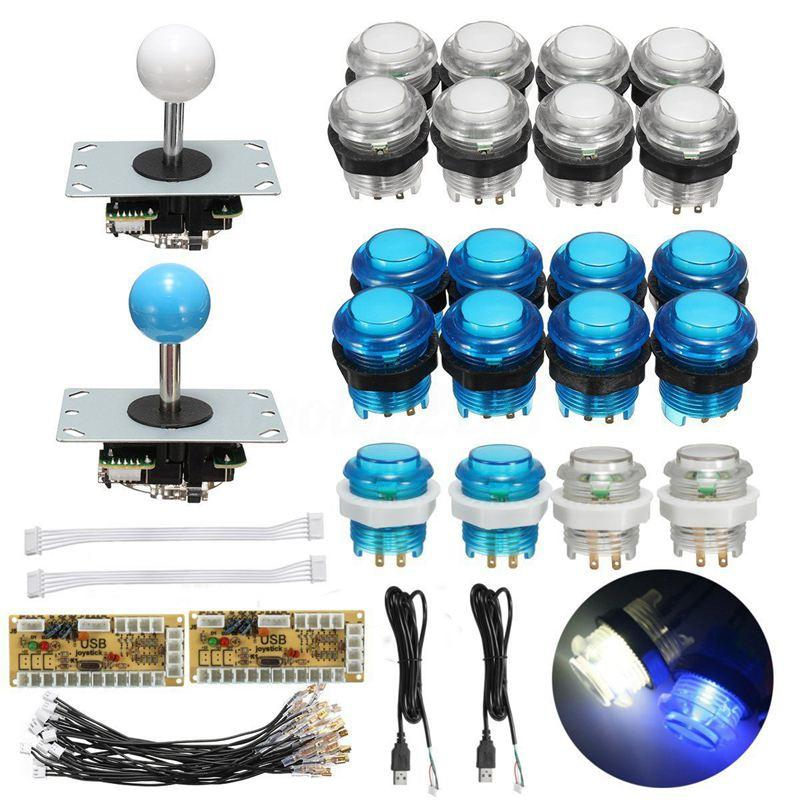 Giá LED Arcade Kit 2x Zero Delay USB Encoder + 2x Joystick + 20x Lighted Push Button
