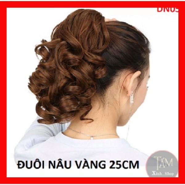 Tóc giả nữ dạng kẹp dài ngang vai đẹp, đuôi tóc xoăn giả ngắn dạng kẹp ngoạm đẹp 25cm