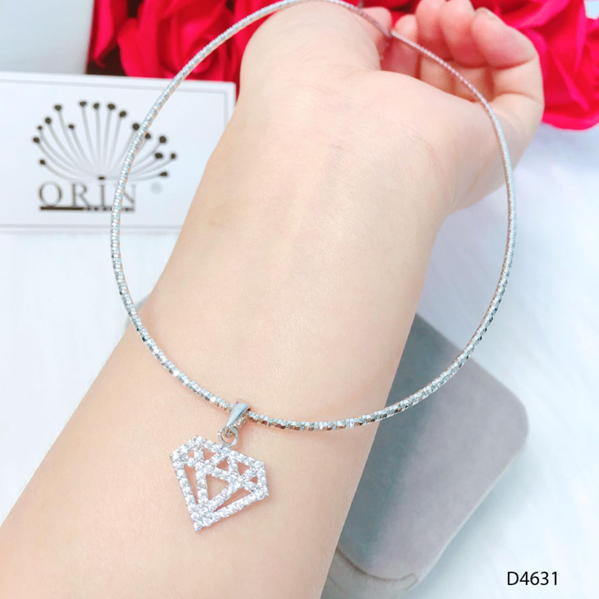 Kiềng dẻo, kiềng cổ bạc mặt hình kim cương thiết kế cao cấp Orin D4631