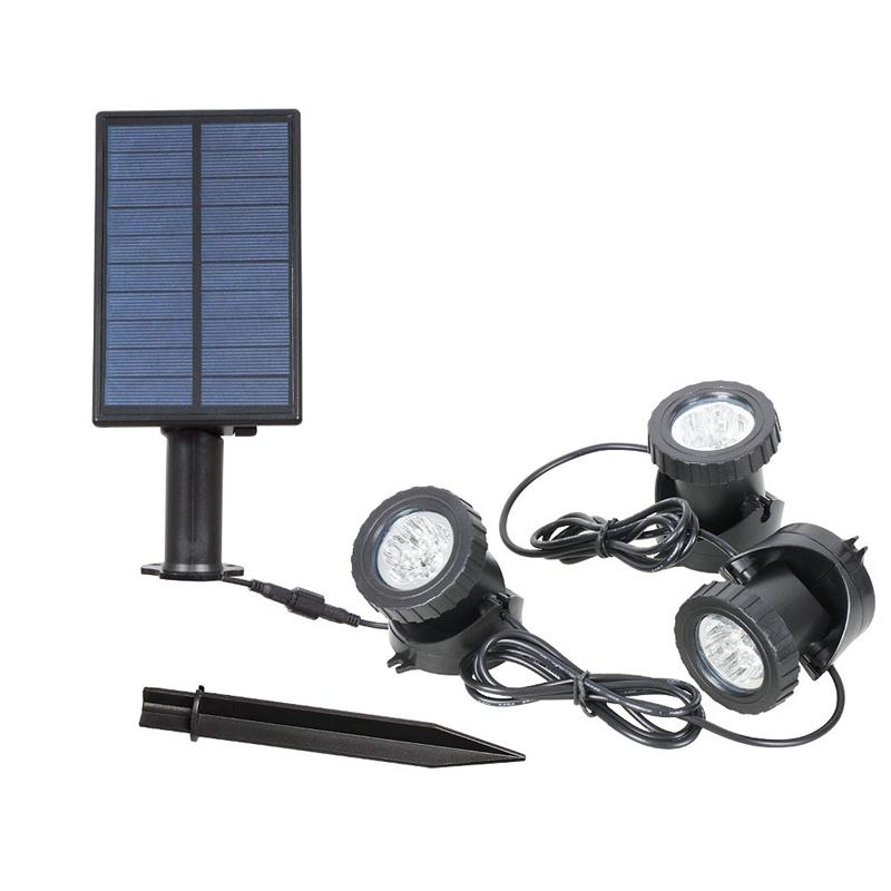 Solar Powered Super Bright 3 Submersible Lamps 18 Leds Projector Light Garden Pool Pond Yard Landscape Underwater Spotlight Outdoor Lighting