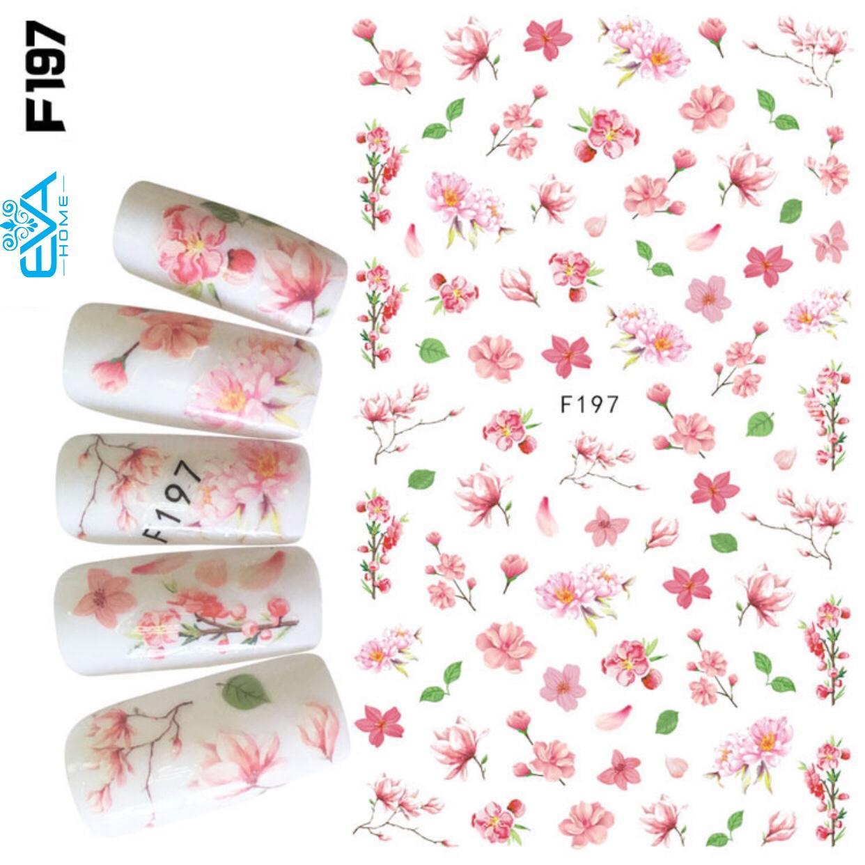 Miếng Dán Móng Tay 3D Nail Sticker Tráng Trí Hoạ Tiết Bông Hoa F197 tốt nhất