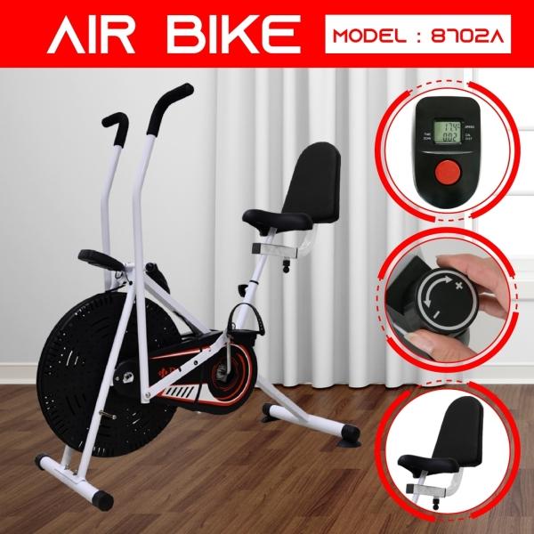 GYM19 - Xe đạp tập thể dục Air bike 8702A Hot năm 2019 mới có thêm tựa lưng