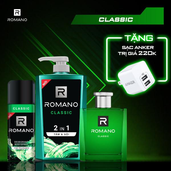 [TẶNG NGAY SẠC ANKER MINI 2 CỔNG 12W] Combo Romano Classic: Tắm gội 2in1 650g & Nước hoa 50ml & Xịt khử mùi 150ml giá rẻ