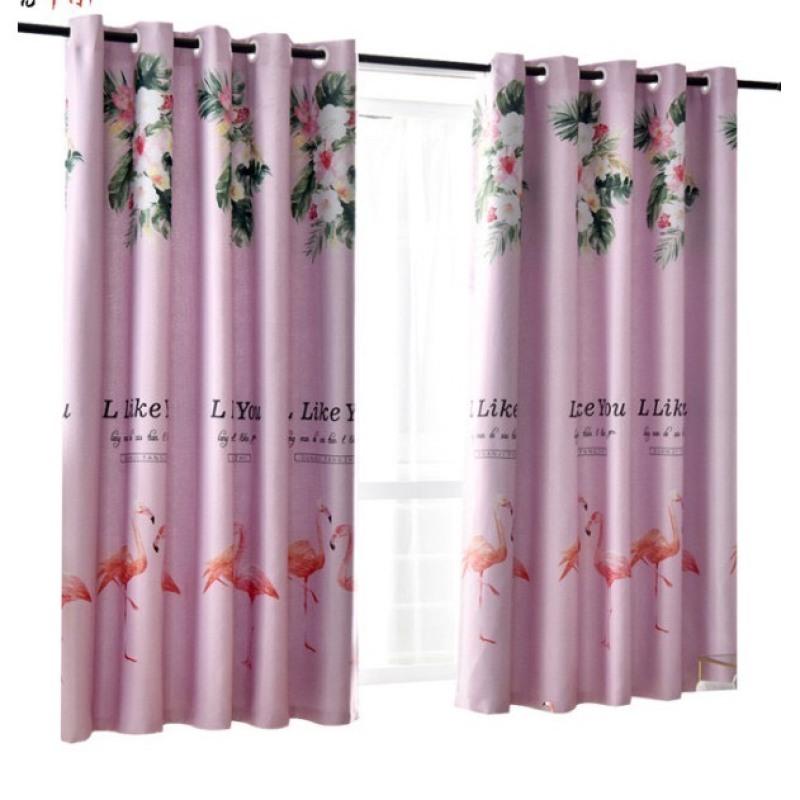 Rèm vải dày cao cấp hạt nền hồng 2m dài ( giá 1 tấm )