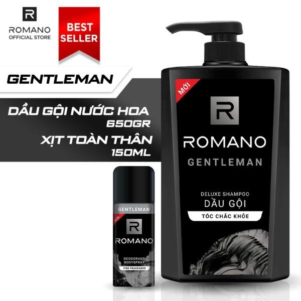 Combo dầu gội nước hoa Romano Gentleman 650gr & xịt toàn thân Gentleman 150ml cao cấp