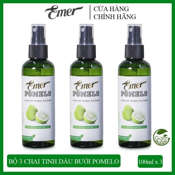 Liệu trình giảm rụng tóc 3 chai Nước xịt dưỡng tóc tinh dầu bưởi Pomelo Emer (100ml x 3) phục hồi tóc hư tổn cao cấp