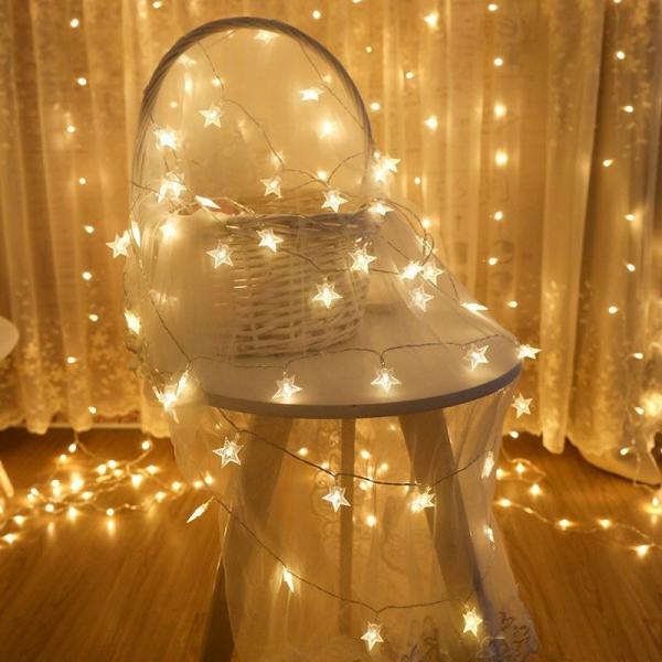 [ Sài Pin 2A ] 6 mét Dây đèn ngôi sao 40 bóng, decor phòng ngủ, đèn trang trí phòng ngủ, dây đèn led trang trí