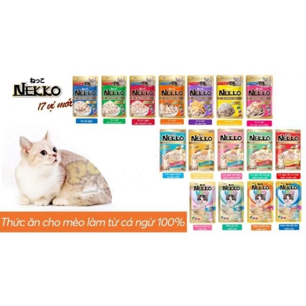 12 gói thức ăn cho mèo NEKKO 70g ( mix vị ngẫu nhiên)