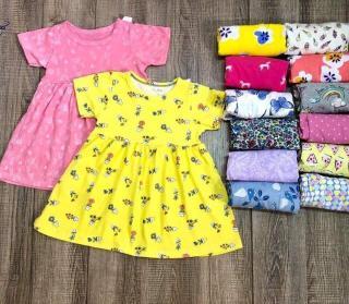 Váy đầm cộc tay mùa hè cho bé gái 8-18kg 1-5 tuổi Vải cotton xuất dư mềm mịn đẹp, hoạ tiết xinh yêu thumbnail