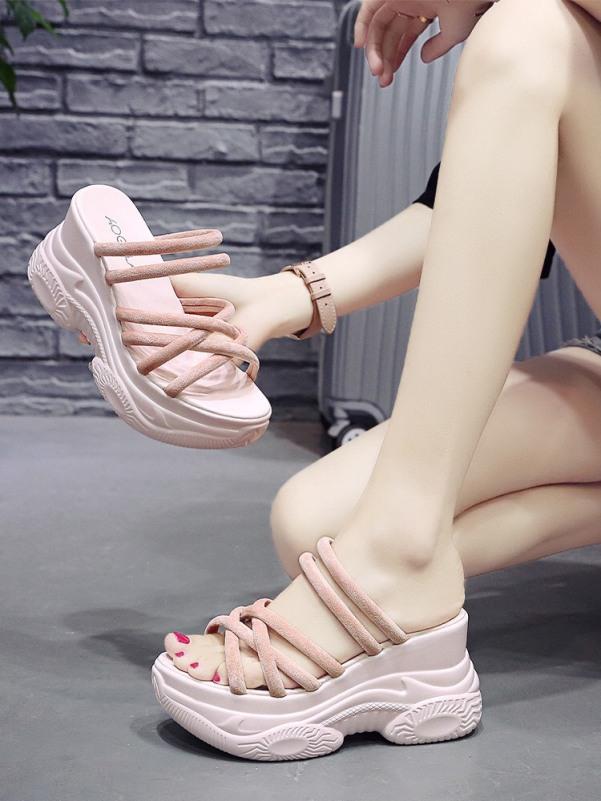 Giày sandal độn đế cao đế bánh mì dây đan chéo giá rẻ