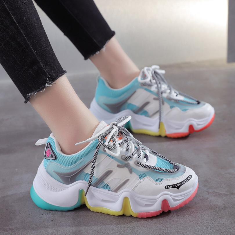 Giày Thể thao Nữ Độn đế Sắc màu Cầu vồng Phiên bản Hàn Quốc Mới nhất 2020 ( Xanh Cam Xám)[Lựa chọn của SERI ] giá rẻ
