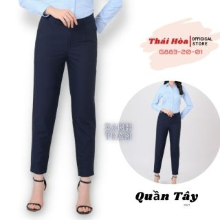 Quần Tây nữ Thái Hòa G883-20-01 - Quần công sở nữ màu xanh than,cạp cao dáng rộng,chất vải nhẹ, thoáng mát thumbnail