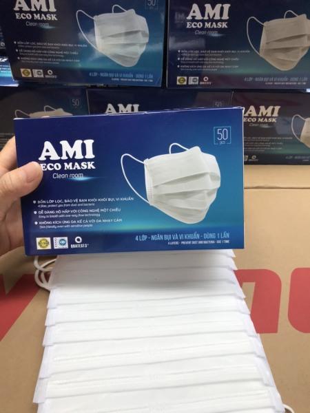 [1 hộp 50 chiếc Xanh] Khẩu trang y tế AMI 4 lớp than hoạt tính kháng khuẩn ngừa dịch chống thấm nước lọc bụi