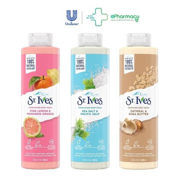 Sữa Tắm St.Ives - Sữa Tắm Tẩy Tế Bào Chết ST. IVES Dịu Nhẹ, Dưỡng Da 650ml