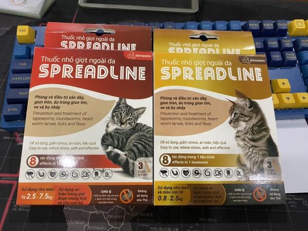 Vemedim SPREADLINE nhỏ giọt ngoài da phòng và diệt sạch rận tai, sán dây, giun tròn, ấu trùng giun tim, ve và bọ nhảy cho mèo - Spread line