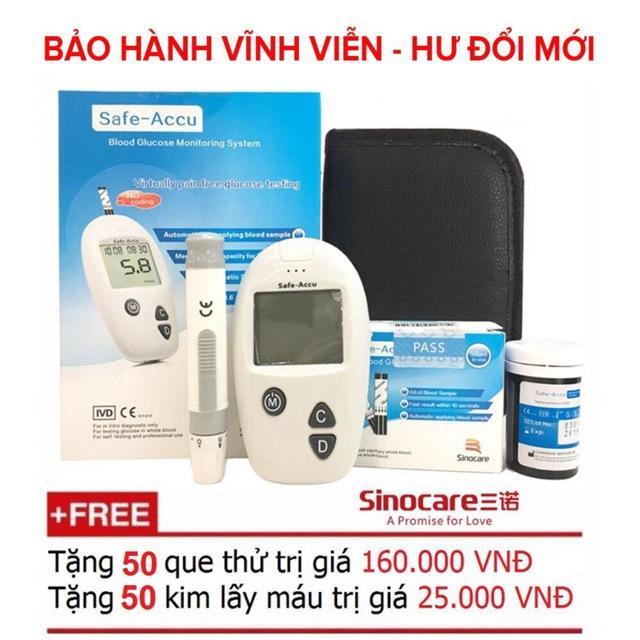 Giá Cực Tốt Để Sắm Máy đo đường Huyết Safe Accu - Sinocare Đức (Tặng Kèm 50 Que Thử Và 50 Kim)