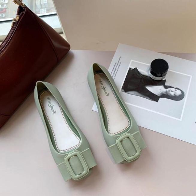 Giày bệt nữ đẹp, giày bệt khóa vuông mũi tròn, FULL size mã T179 giá rẻ