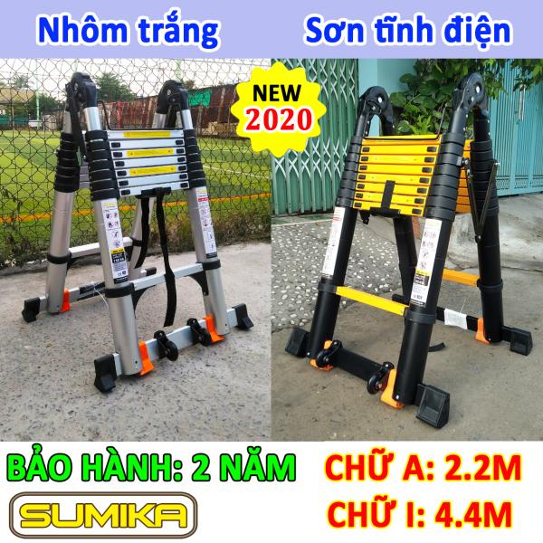 Thang nhôm rút xếp đôi chữ A 2.2M, duỗi thẳng 4.4M Sumika SK440D & SKS440D (bảo hành 2 năm) tải trọng 300kg
