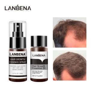 LANBENA Dầu tinh chất mọc tóc + Xịt tinh chất mọc tóc  Nhanh Quyền lực Ngăn ngừa Hói đầu đầu chống rụng tóc  nuôi dưỡng chân tóc 2 CÁI