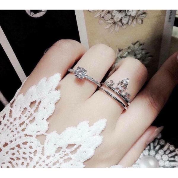 Nhẫn bạc nữ mặt vương miện ghép 2 in 1 { chuẩn bạc ta}, chất liệu cao cấp, các họa tiết sắc sảo-JQN gian hàng chính hãng cam kết bạc chuẩn, chất lượng không lo đen xỉn