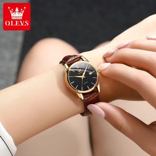 Đồng hồ nữ dây da mạ vàng tinh tế cao cấp xu hướng cổ điển nổi bật Olevs thumbnail