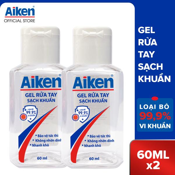 Combo 2 Nước rửa tay Aiken diệt sạch khuẩn chai 60ml x 2 nhập khẩu