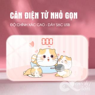 (Hàng có sẵn)Cân sức khỏe - Cân điện tử có thể sạc được hình Mèo béo (Ko cần mua pin) thumbnail