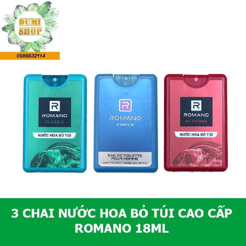 Combo 3 chai nước hoa bỏ túi cao cấp Romano 18ml cao cấp