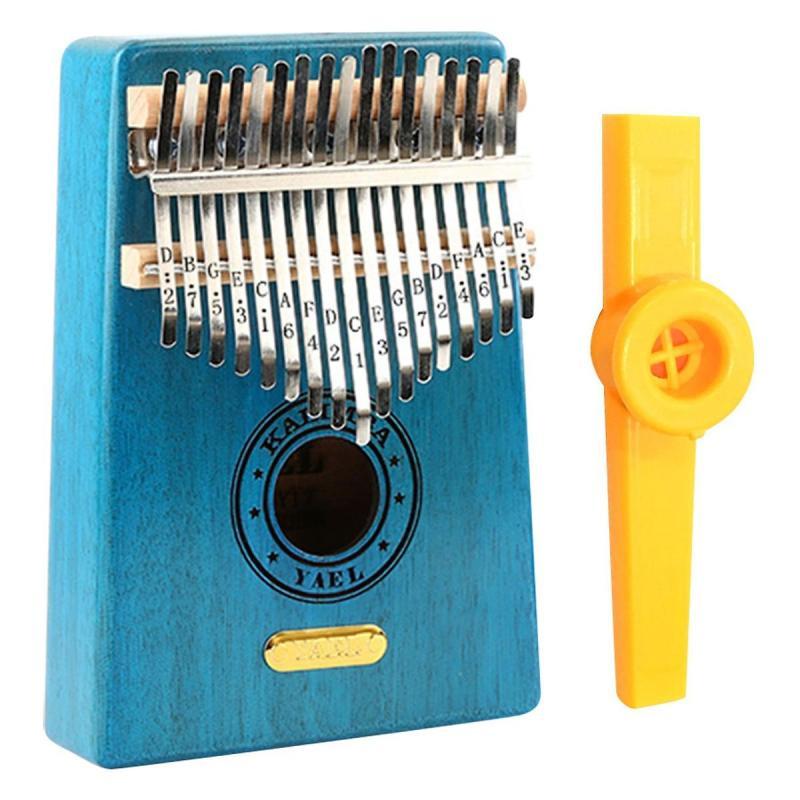 Đàn Kalimba 17 Phím Gỗ Mahogany Yael Y17M-BL Kèm Kèn Kazoo DreamMaker - Xanh - HÀNG CÓ SẴN