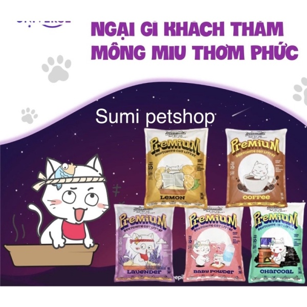 5L cat vệ sinh Meowcat cho mèo ( charcoal , lavender, baby powder , lemon, coffee)