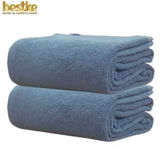 Combo 2 Khăn Tắm bestke 100% Cotton Xuất Khẩu Hàn Quốc màu xanh đậm 120 60cm 320g cái, towels bestke, towels manufacturer thumbnail