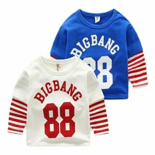 FREESHIP- [MẪU MỚI] ÁO BIGBANG 88 KẺ TAY PHONG CÁCH THỂ THAO CHO BÉ TRAI GÁI 8-10KG. KISS PLAZA thumbnail