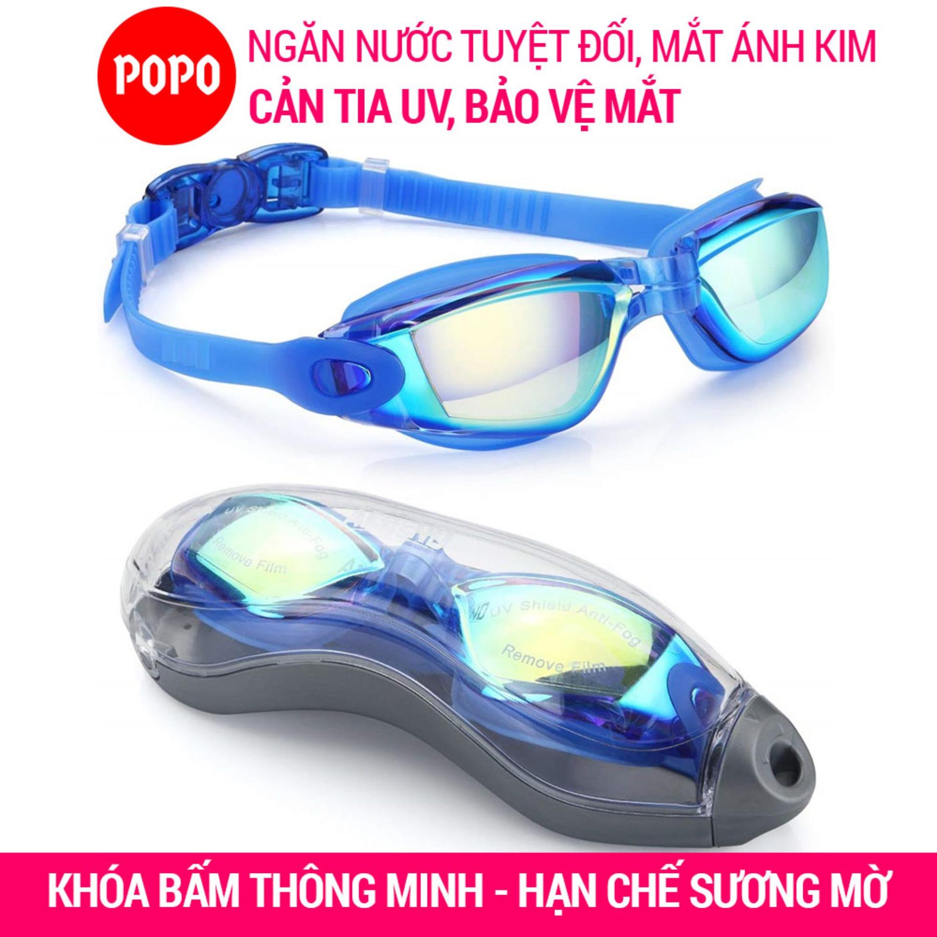 Kính bơi ánh kim chống tia UV POPO P2360 chống hấp hơi kiểu dáng thể thao Khóa bấm phía sau dễ dàng đeo và tháo kính bơi