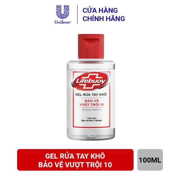 Gel rửa tay khô sạch siêu nhanh Lifebuoy Bảo Vệ Vượt Trội 10 (Chai nắp 100ml)