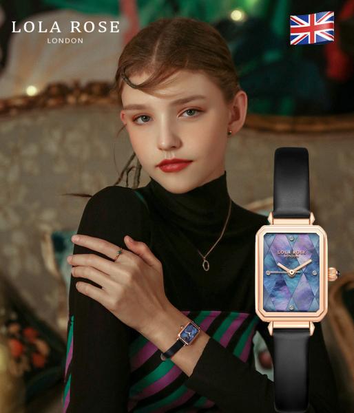 Nơi bán Đồng hồ thời trang nữ, đồng hồ Lolarose thiết kế từ Anh, mặt vuông với những mảnh sò hình thoi màu cánh bướm đen quyến rũ kết hợp dây da bắt mắt bảo hành 2 năm LR2180