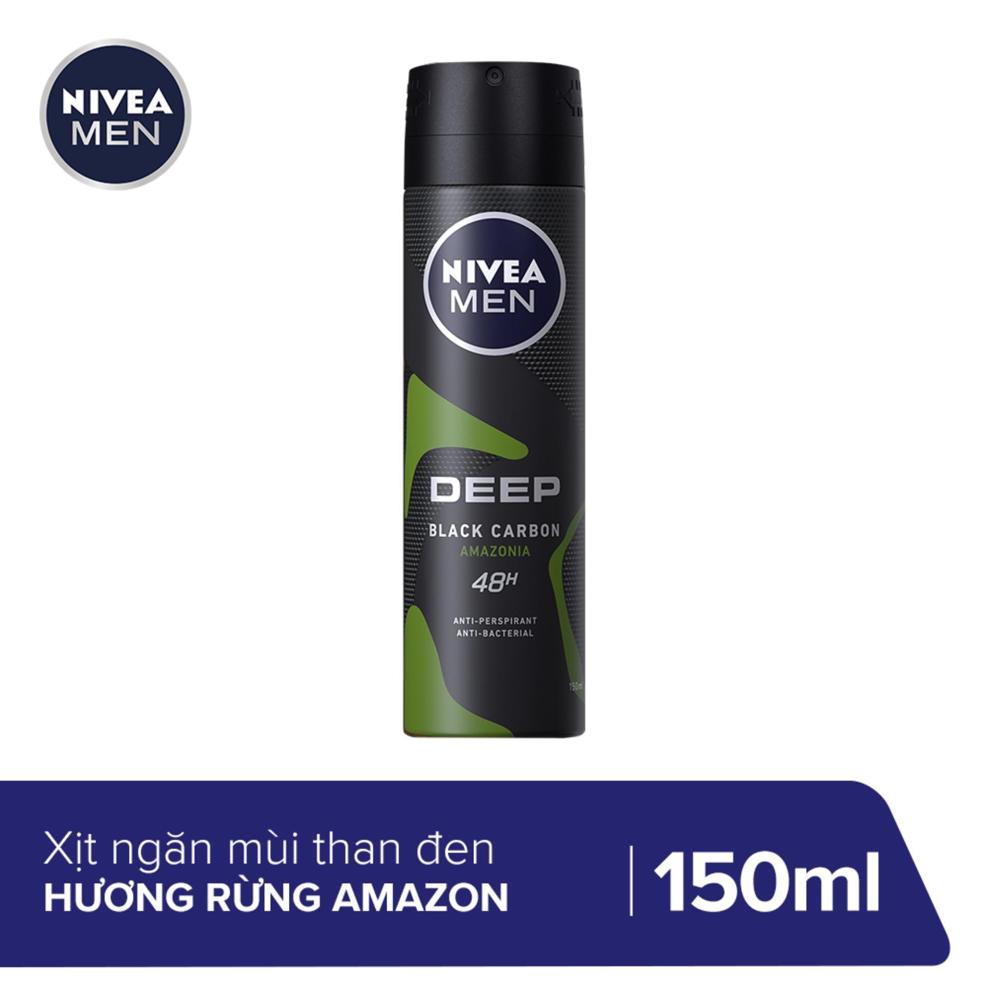Xịt ngăn mùi Nivea Than Đen Hương Rừng Amazon 150ML - 85371 cao cấp