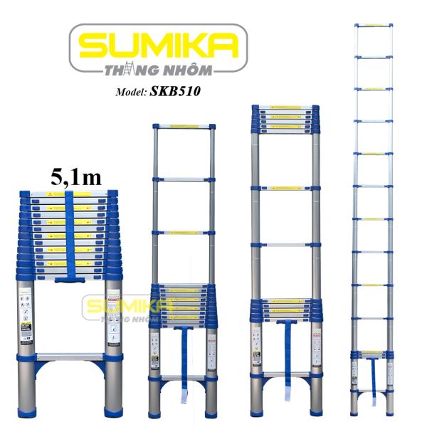 Thang nhôm đơn rút gọn Sumika SKB 510 (Màu xanh)